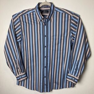 Bugatchi blue and brown striped button down. XL